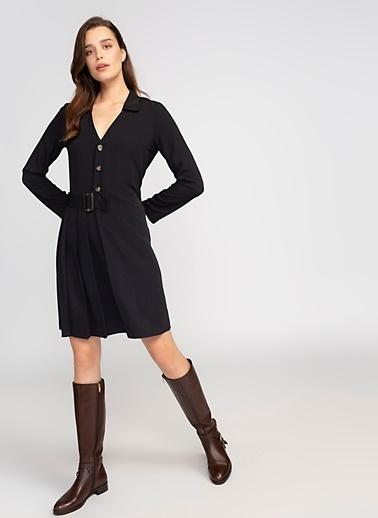 Fabrika V Yaka Düğmeli Elbise Siyah